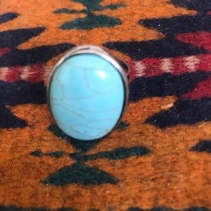Gorgeous Turquoise Sterling Silver adjustable ring
